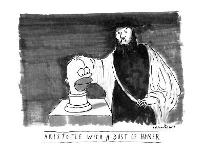 ARISTOTLE WITH A BUST OF HOMER: - New Yorker Cartoon-Michael Crawford-Premium Giclee Print
