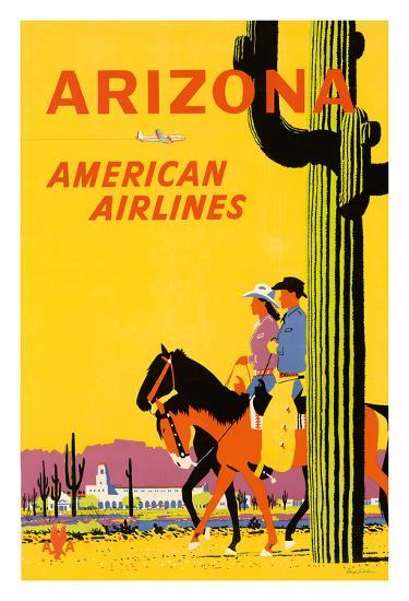 Arizona - American Airlines - Riders on Horseback - Saguaro Cactus, State Flower of Arizona-Fred Ludekens-Giclee Print