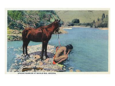 Arizona - Apache Man Drinking at Navajo Rio-Lantern Press-Art Print