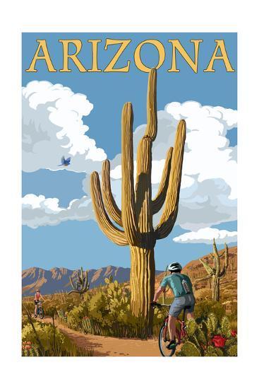 Arizona - Bicycling Scene-Lantern Press-Art Print