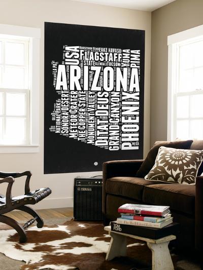 Arizona Black and White Map-NaxArt-Wall Mural