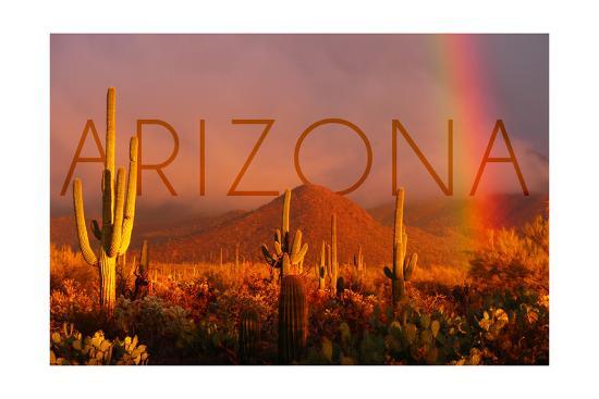 Arizona - Cactus and Rainbow-Lantern Press-Art Print