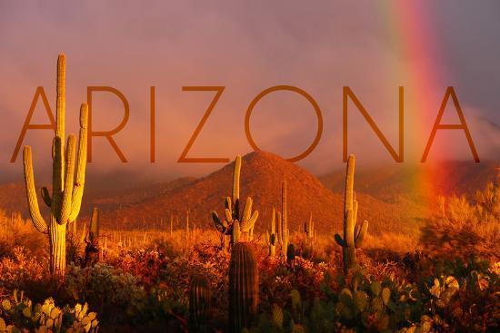 Arizona - Cactus and Rainbow-Lantern Press-Wall Mural