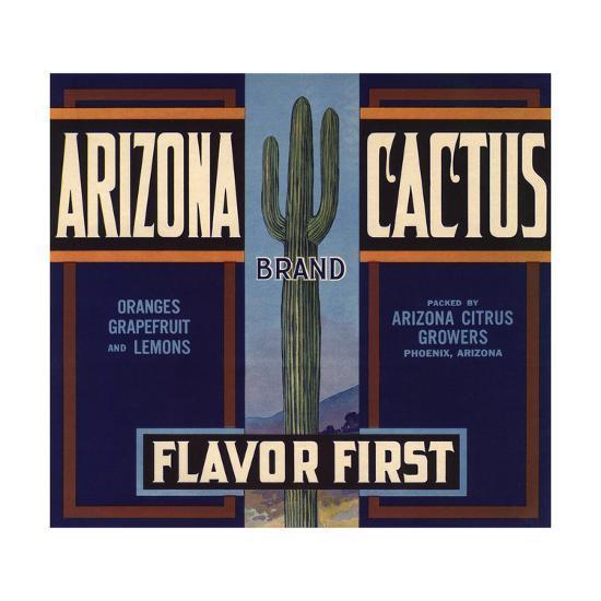 Arizona Cactus Brand - Phoenix, Arizona - Citrus Crate Label-Lantern Press-Art Print