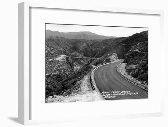 Arizona - Globe-Superior Hwy View of Pinal Creek Bridge-Lantern Press-Framed Art Print