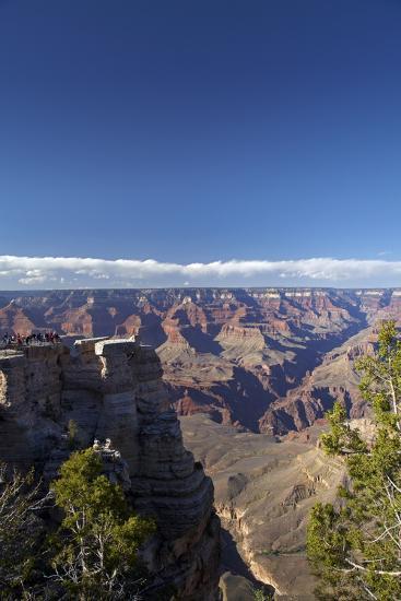 Arizona, Grand Canyon National Park, Grand Canyon and Tourists at Mather Point-David Wall-Photographic Print