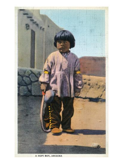 Arizona - Hopi Indian Boy outside of Pueblo-Lantern Press-Art Print