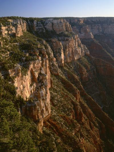 Arizona, North Rim, Eroded Face of Cape Final at Sunrise, View from Cape Royal-John Barger-Photographic Print