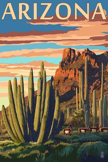 Arizona - Organ Pipe Cactus-Lantern Press-Art Print