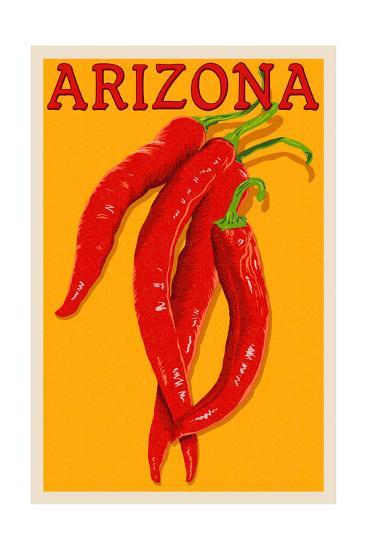Arizona - Red Chili - Letterpress-Lantern Press-Art Print
