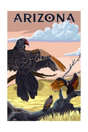 Arizona Vultures-Lantern Press-Art Print