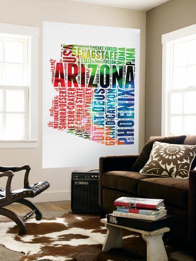 Arizona Watercolor Word Cloud-NaxArt-Wall Mural