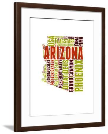 Arizona Word Cloud Map-NaxArt-Framed Art Print