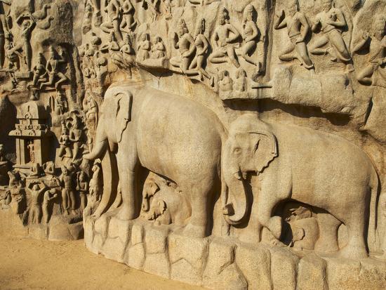 Arjuna's Penance Granite Carvings, Mamallapuram (Mahabalipuram), UNESCO World Heritage Site, India-Tuul-Photographic Print
