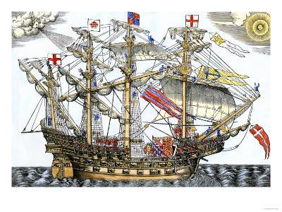 Ark Royal, the Flagship Which Led the English Fleet against the Spanish Armada, c.1588--Giclee Print