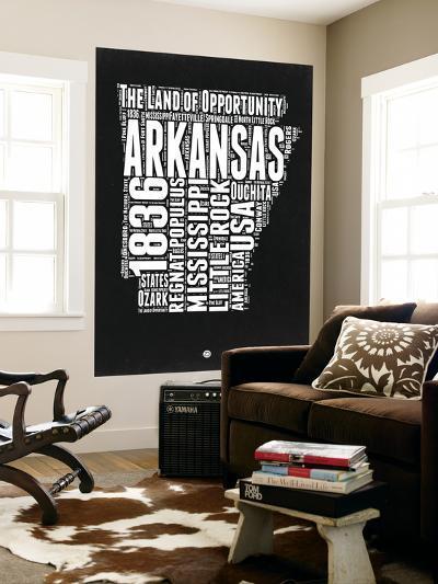 Arkansas Black and White Map-NaxArt-Wall Mural