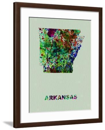 Arkansas Color Splatter Map-NaxArt-Framed Art Print
