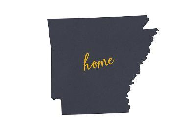 Arkansas - Home State- Gray on White-Lantern Press-Art Print