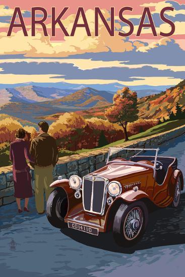Arkansas - Outlook and Sunset Scene-Lantern Press-Art Print