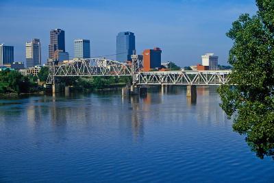 Arkansas River view from North Little Rock, Little Rock, Arkansas--Photographic Print