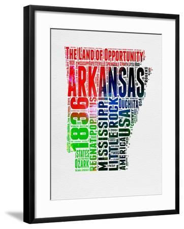 Arkansas Watercolor Word Cloud-NaxArt-Framed Art Print
