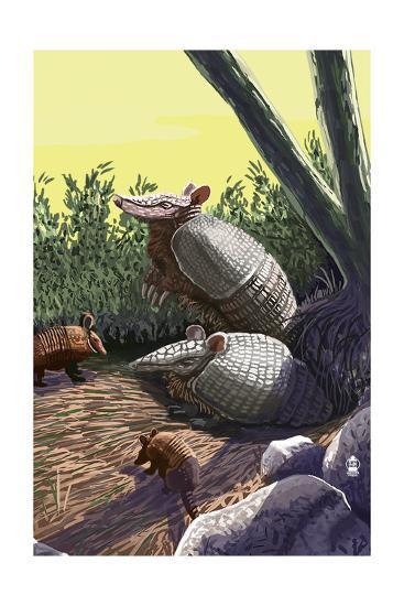 Armadillo Family-Lantern Press-Art Print