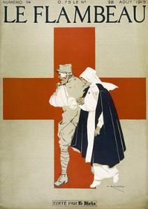 Red Cross Nurse Assists a Bandaged Soldier by Armand Rapeno