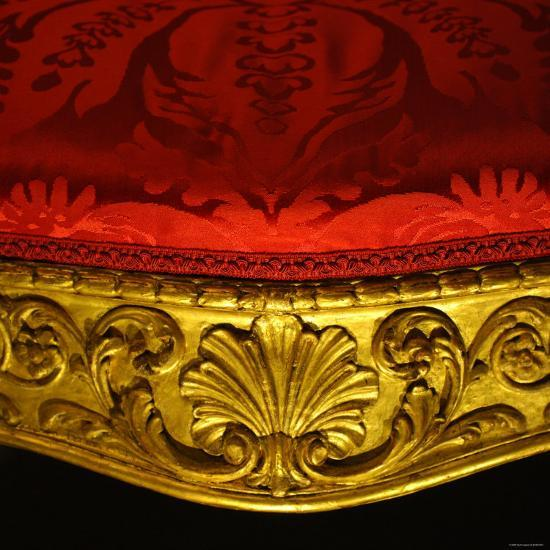 Armchair in Gilded Beech Wood and Walnut with Damask Upholstery-Robert Adam-Photographic Print