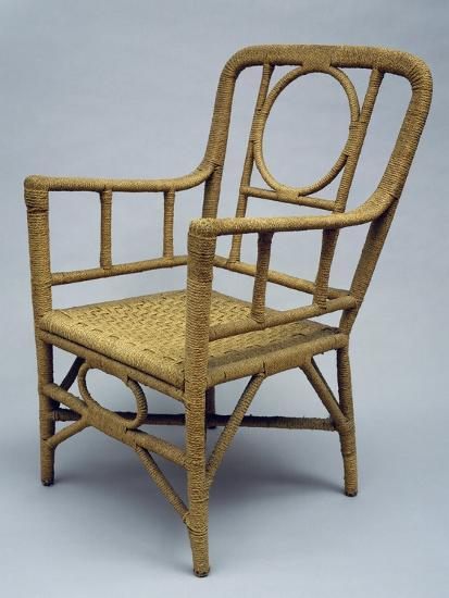 Armchair Upholstered with Braided Rope, 1920-1930--Giclee Print