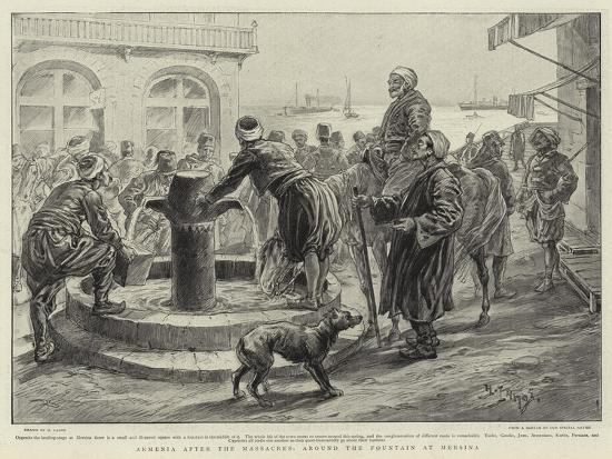 Armenia after the Massacres, around the Fountain at Mersina-Henri Lanos-Giclee Print