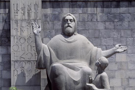 Armenia, Erewan, Statue of Mesrop Mashtots in Mesrop Mashtots Institute of Ancient Manuscripts--Giclee Print