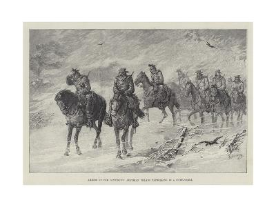 Armies of the Continent, Austrian Uhlans Patrolling in a Snow-Storm-Johann Nepomuk Schonberg-Giclee Print