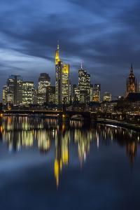 View of the Ignatz-Bubis-Bridge in Frankfurt on the Skyline of the Banking District by Armin Mathis