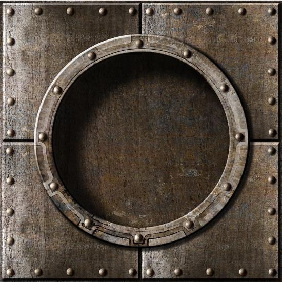 Armored Metal Porthole Background-Andrey_Kuzmin-Art Print