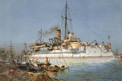 Armour Plated Warship the 'Hildebrand', Illustration from 'Deutschland Zur See', 1910--Giclee Print