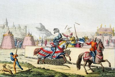 Armoured Knights Jousting at a Tournament, 12th Century, C1820--Giclee Print