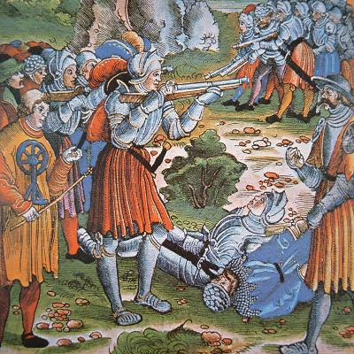 Armoured Soldiers Firing Match-Lock Arquebus, Late 15th Century--Giclee Print