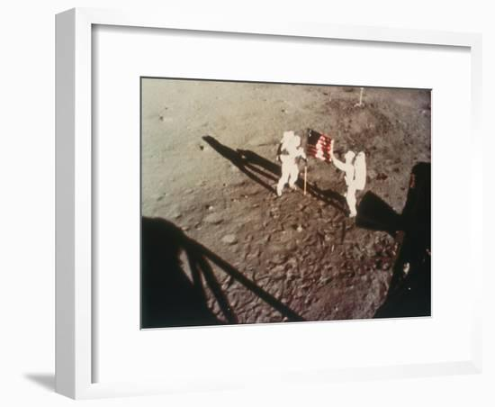 Armstrong and Aldrin Unfurl the Us Flag on the Moon, 1969--Framed Photographic Print