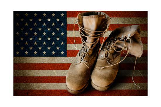 Army Boots On Sandy Flag Background-astrozombie-Art Print