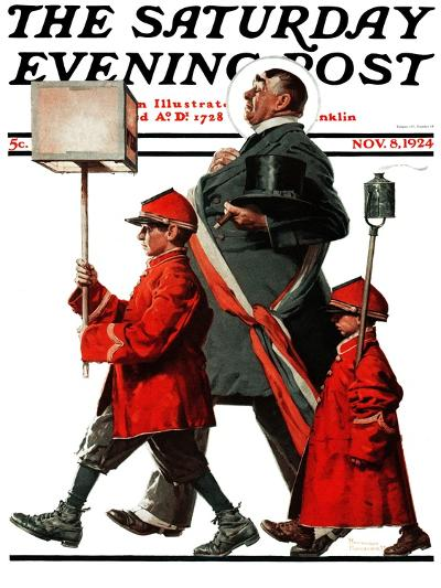 """""""Army March"""" or """"Grand Reception"""" Saturday Evening Post Cover, November 8,1924-Norman Rockwell-Giclee Print"""