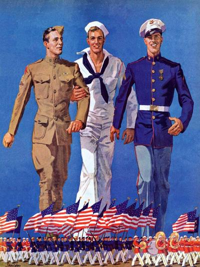 """Army, Navy and Marines,""November 13, 1937-John E^ Sheridan-Giclee Print"