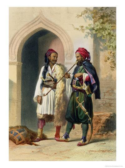 Arnaout and Osmanli Soldiers, Alexandria, the Valley of the Nile, c.1848-Achille-Constant-Th?odore-?mile Prisse d'Avennes-Giclee Print
