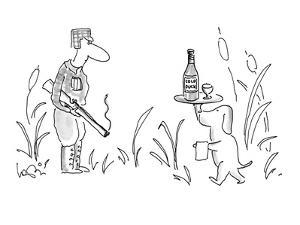 A hunter with a smoking rifle is waited upon by a dog carrying a tray with? - New Yorker Cartoon by Arnie Levin