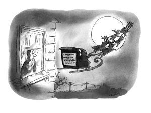 "A man is looking at the sign on the back of Santa's sleigh which reads, ""I? - New Yorker Cartoon by Arnie Levin"