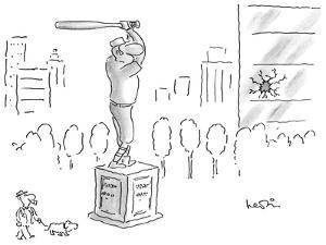 A statue of a baseball player swinging a bat; next to the statue there is … - New Yorker Cartoon by Arnie Levin