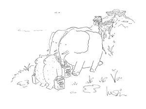 """Animals troupe out of ark with shopping bags that say """"Noah's Ark"""". - New Yorker Cartoon by Arnie Levin"""