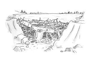 Beaver with finger in leak in dam. - New Yorker Cartoon by Arnie Levin