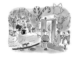 Children waiting to sit on Santa's lap in store must pass through metal de? - New Yorker Cartoon by Arnie Levin
