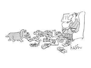 Dog brings shoes to master, who is surrounded by shoes. - New Yorker Cartoon by Arnie Levin