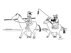 Don Quixote is followed by Pancho holding camcorder and microphone boom. - New Yorker Cartoon by Arnie Levin